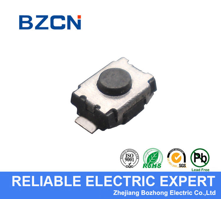 Black Push Button Low Profile Tactile Switch For High Density Mounting