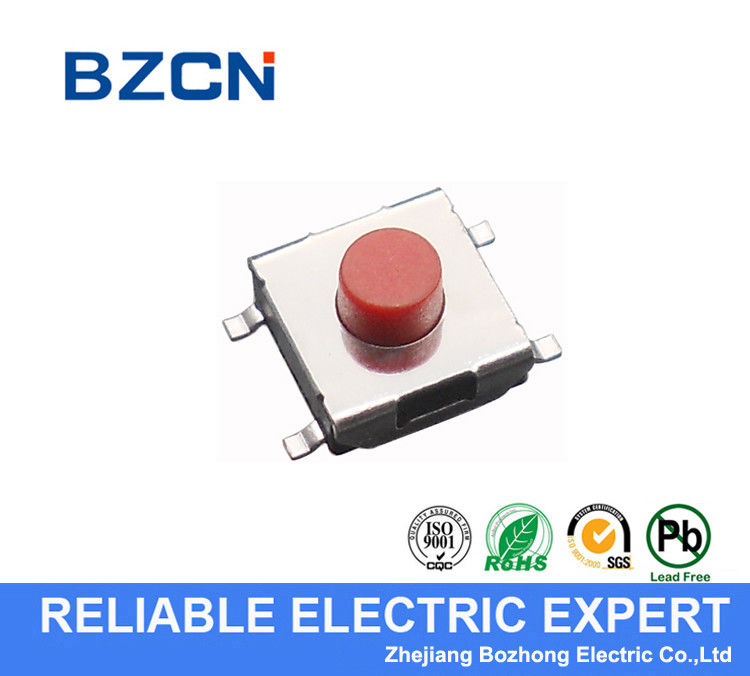 RED Low Profile Tactile Switch , 4 Pin Tactile Switch 6.2X6.2 Mm Middle Travel