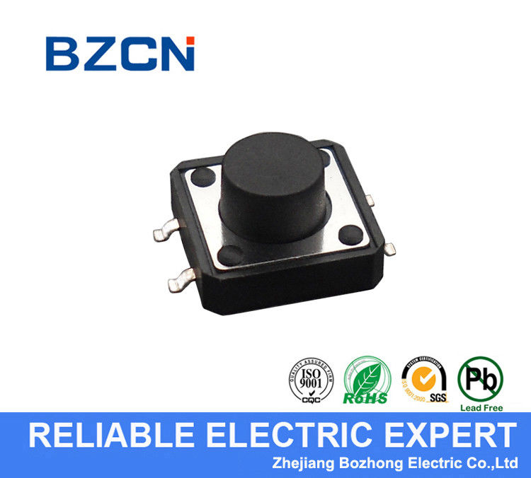 Side Press Momentary Silent Tactile Switch , 4 Pin Surface Mount Push Button